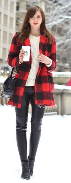 Red Tartan Coat with Leather Pant | Chic Street St...