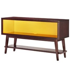 Perfect as a loft-worthy focal point in your entryway or petite bookcase in the study, this console table features a yellow interior and brown top for mod...