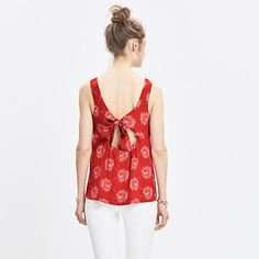 Silk Lookout Bow-Back Top in Palmflower