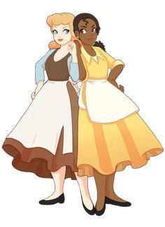 Tiana and Cinderella Disney crossover fanart Disney Princess Fashion de8351979793