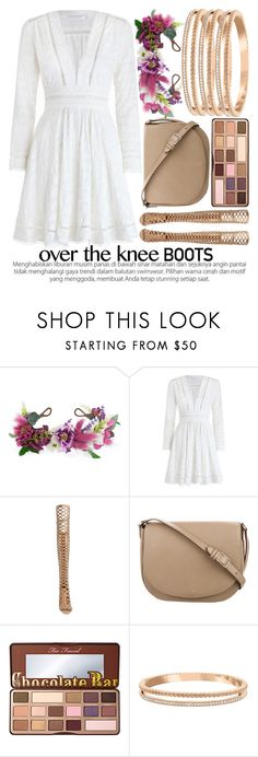 """FALL FOOTWEAR: OVER THE KNEE BOOTS"" by noraaaaaaaaa ❤ liked on Polyvore featuring Rock 'N Rose, Zimmermann, Vince Camuto, CÉLINE, Too Faced Cosmetics and Swarovski"