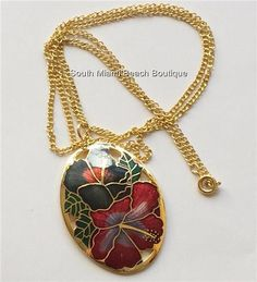 Gold Cloisonne Hibiscus Flower Necklace Plated Island Beach Hawaiian 24 inch USA #Unbranded #Pendant