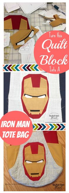 Turn this Iron Man quilt block into a 241 Tote bag by Noodlehead. Turn this Iron Man quilt block into a 241 Tote bag by Noodlehead. Paper Piecing Patterns, Quilt Patterns Free, Sewing Patterns, Quilting Tips, Quilting Tutorials, Craft Tutorials, Easy Sewing Projects, Sewing Tips, Sewing Hacks