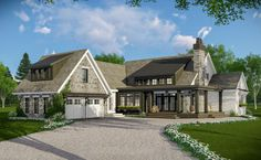 This 3-bed farmhouse plan combines modern farmhouse and rustic aesthetics to create a beautiful home offering the best of the new and the old.An L-shaped porch gives you access to the vaulted great room. In fact, the entire open floor plan is vaulted front-to-back creating a great space to entertain in.The family entry is located by the garage and is closed off from the kitchen with a barn door.The bedrooms are lined up along the left with the master suite having access to the back covered porch Lake House Plans, Bungalow House Plans, New House Plans, Dream House Plans, Unique House Plans, L Shaped House Plans, Farmhouse Floor Plans, Farmhouse Decor, Farmhouse Curtains