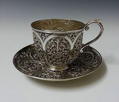 Extremely Fine Quality Antique Islamic Indian Kutch Solid Silver Teacup + Saucer
