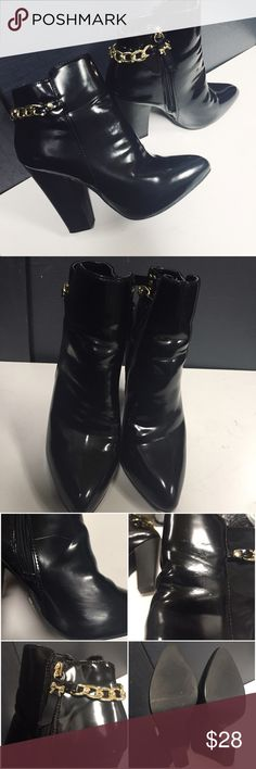 """Betsyville Black Patent Ankle Boots Heeled Item does show signs of wear to left boot due to poor storage including scuffing / scratching. Not really noticeable when worn (pictured). Additional photos can be requested. Heel height 4"""" measured from the center. Item has a Zip closure and man made material. No trades sorry. betseyville Shoes Ankle Boots & Booties"""