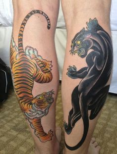 Matching tattoos - tiger and panther -want one but with white tiger instead