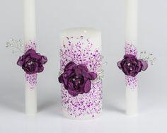 Crystal purple  wedding Unity candles  rhinestones by DiAmoreDS, $42.00