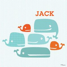 """""""One Mod Whale Pod"""" personalized artwork for kids rooms by Vicky Barone for Oopsy Daisy, Fine Art for Kids $99"""