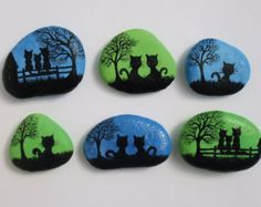 Painted Pebbles - Fridge Magnets: Cats Painting on Stones, Hand Painted Stones, Cat Magnets, Pebble Magnets, Original Stone Painting Cat Art Pebble Painting, Pebble Art, Stone Painting, Painting Art, Painted Rock Animals, Hand Painted Rocks, Painted Pebbles, Painted Stones, Painted River Rocks