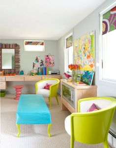 Bright and Colorful Bedroom Design in Basement - Energetic Green and Sky Blue Color for Chair