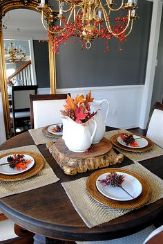 Table setting, and chandelier decor for Thanksgiving.. The Graphics Fairy