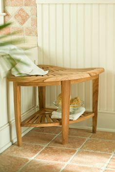 Teak Corner Stool  Been looking for a shower stool.  This could be it!