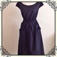 Black Or Navy Sheared Elastic Waist Dress by jenniferlillydesigns, $47.00