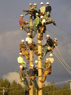 Pacific Telephone Lineman At Work Sometime In The 1930 S