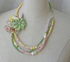 Spring Pastel yellow Green Pink Vintage Brooch Collage necklace Beaded Multi Strand Butterfly Mint Ombre Enamel Spring Time