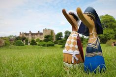 The Henry and Anne ducks survey the Hever Castle Estate! Created by DCUK, they are now available in the Hever Shop. Contact us to order via our postal service 01732 861712 | #shop #hevercastle #ducks #henryviii #anneboleyn #tudors