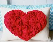 HEART - Blooming Red Heart Pillow - 14 x 19 inch