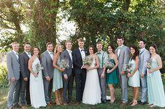 blue-green & grey bridal party   photos by April Bennett Photography @April Bennett Photography