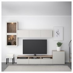 BESTÅ TV storage combination / glass doors - walnut effect light gray / Lappviken gray c . - Ikea DIY - The best IKEA hacks all in one place Living Room Tv Unit, Ikea Living Room, Living Room Furniture, Living Rooms, Furniture Stores, Cheap Furniture, Ikea Design, Tv Wall Design, Tv Wanddekor