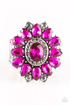 "Paparazzi ""Garden Gala"" Pink & Hematite Rhinestone Floral Design Silver Frame Ring"