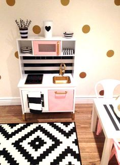 Custom Painted Ikea Childrens Kitchen- Made to Order! Your Lil One will feel right at home with His/Her Custom Kitchen! This item is made to fit (Cuisinette Pour Enfant)