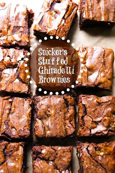 Homemade Snicker's Stuffed Copycat Ghiradelli Brownies.