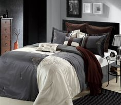 This 12-piece lavish comforter set comes with everything you need to do a complete makeover for your master or guest suite. #Hipster #LuxBed #ChicHome #Comforters #Bedding #Grey #Beige