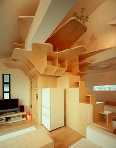 unique ceiling ideas | Unique Shape Ceiling Roof Ideas Design: Artistic Wood Panel Ceiling