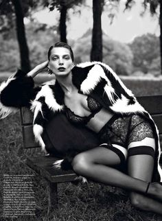 Daria Werbowy | Mert & Marcus | Vogue Paris September 2012. This lace is exquisite.
