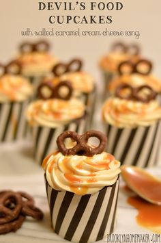 devil's food cupcakes with salted caramel cream cheese icing | Brooklyn Homemaker