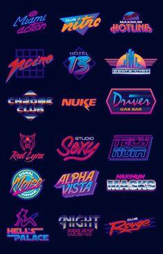 Neon logo designs : outrun
