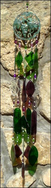 "Grape Design Stained Glass Windchime  - 34"" long - $149.95 - Stained Glass SunCatchers, Stained Glass Wind Chimes, Handcrafted Stained Glass Designs,  From Accent on Glass  - www.AccentonGlass.com"
