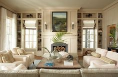 Fireplace and sconces