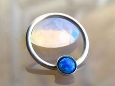 natural opal septum ring // blue opal septum by LarryJewelryShop