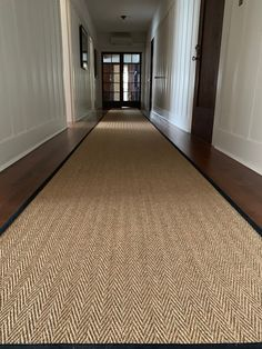 Our classic sisal weave, Astute, in a sophisticated herringbone structure as a hallway runner. Long Hallway Runners, Entryway Runner, Hall Runner Rugs, Hallway Carpet Runners, Carpet Stairs, Sisal Runner, Runner Runner, Entryway Flooring, Hallway Rug