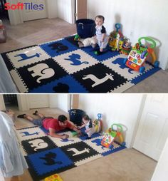 This SoftTiles Safari Play Mat Set in Blue, Black, and White turns any space into a fun playroom! This play mat includes 9 Safari Mats and sloped borders that go around it. Covers an area approximately 6 1/2 x 6 1/2 feet. $96.00 http://www.softtiles.com/index.php?option=com_virtuemart&Itemid=138