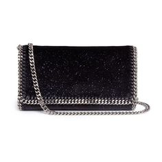 Stella McCartney 'Falabella' glitter velvet chain crossbody bag (€1.045) ❤ liked on Polyvore featuring bags, handbags, shoulder bags, blue, crossbody chain purse, cross-body handbag, stella mccartney shoulder bag, stella mccartney handbags and blue cross body purse
