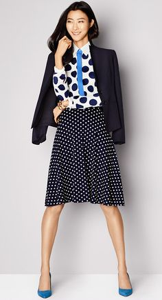 Go Dot-on-Dot, just mix different size polka dots in coordinating colors for a spot on look.