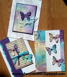 card making cardmaking blended butterfly cards by Cheryl Devlin Card Making Techniques, Card Making Inspiration, Greeting Cards Handmade, Butterfly Cards Handmade, Watercolor Cards, Card Tags, Creative Cards, Diy Cards, Scrapbook Cards
