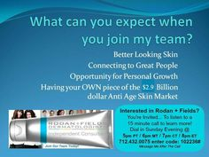 YOU CAN  only be first once...to join a world class dermatology team...that is creating quite the BUZZ!!  The ONLY dermatology skin care company with the right ingredients in the right order. Products and tools for at home use!  www.jcappelletti.myrandf.biz  jointhedrs@gmail.com
