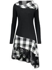 Cowl Neck Plaid Asymmetric Hem Patchwork Skater Dress