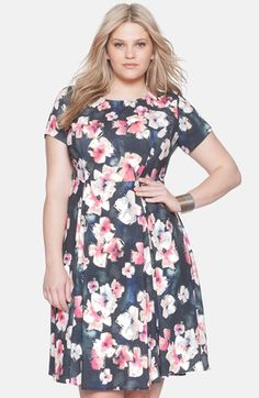 ELOQUII+Floral+Print+Fit+&+Flare+Dress+(Plus+Size)+available+at+#Nordstrom