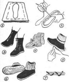 Utrio, 1943: Pois Pula ja Puutteet. > Jalkineet. Make Your Own Shoes, Pula, Survival Kit, Sewing Ideas, Slippers, Footwear, Socks, Homemade, Crochet