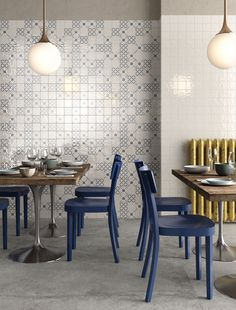 Blue Color Combinations, Dining Chairs, Dining Table, Eclectic Modern, Ceramic Wall Tiles, Interior Decorating, Interior Design, White Tiles, Blue And White