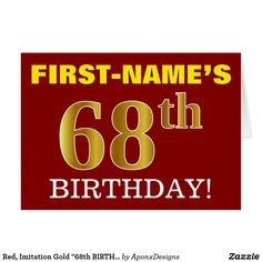 """Shop Red, Imitation Gold BIRTHDAY"""" Birthday Card created by AponxDesigns. Personalize it with photos & text or purchase as is! Diy Party, Party Gifts, Customized Gifts, Personalized Gifts, Birthday Cards, Birthday Gifts, Gold Gifts, Simple Gifts, Custom Greeting Cards"""