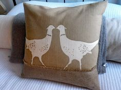 hand printed natural pheasants cushion cover by helkatdesign on Etsy https://www.etsy.com/listing/68573298/hand-printed-natural-pheasants-cushion