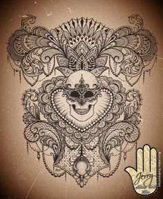 Feminine back piece tattoo idea design, skull with mandala and lotus design, beautiful lace and mendi patterns, by Dzeraldas Kudrevicius, Atlantic Coast tattoo, newquay cornwall