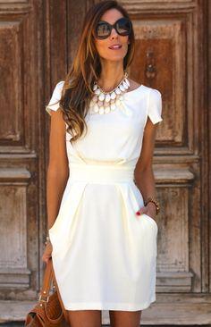 White Round Neck Pocket Design Mini Dress with cheap wholesale price, buy White… Grad Dresses, Sexy Dresses, Cute Dresses, Short Sleeve Dresses, Dresses For Work, Wedding Dresses, Long Sleeve, White Dress With Sleeves, Wedding Dress With Pockets
