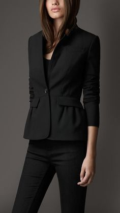 Gathered Peplum Fitted Jacket | Burberry